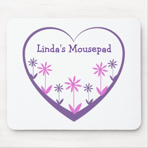 Mousepad, el corazón, las flores, la púrpura, y el alfombrilla de ratones