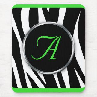 Mousepad elegante del monograma de la verde lima d