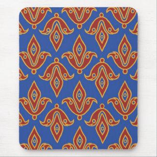Mousepad elegante, rojo, oro, flor de lis azul