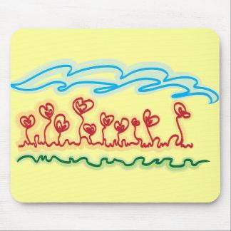 mousepad en forma de corazón de las flores