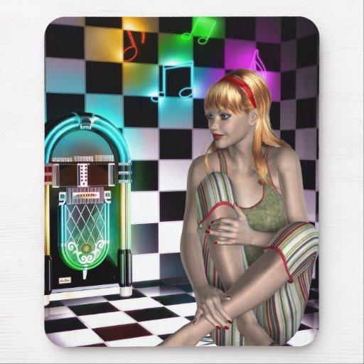 Mousepad Fantasy Art Juke Box Music Girl 2