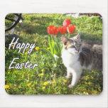 Mousepad feliz del gato de Pascua