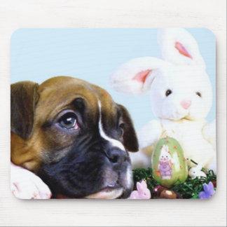 Mousepad feliz del perrito del boxeador de Pascua Tapetes De Ratones