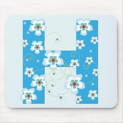 Mousepad floral azul bonito inicial del monograma  alfombrillas de ratón