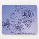 Mousepad floral azul tapete de raton