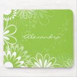 Mousepad floral del verde lima y blanco tapete de ratones
