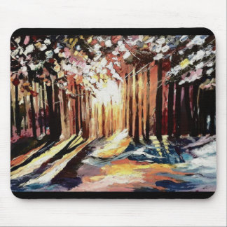 Mousepad forest in the dawning light