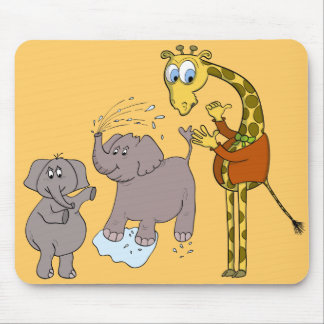 "mousepad ""funny elephants an giraffe"" cartoon"