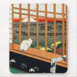 Mousepad: Gato en ventana por el 歌川広重 de Hiroshige Tapete De Ratones