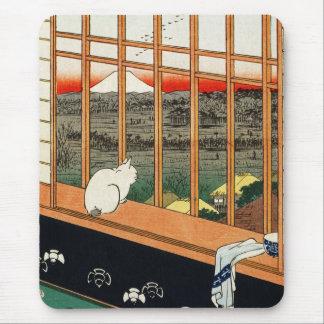 Mousepad Gato en ventana por el 歌川広重 de Hiroshige Tapete De Ratones