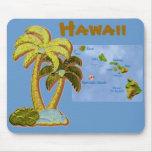 Mousepad hawaiano de los árboles de coco alfombrillas de ratones