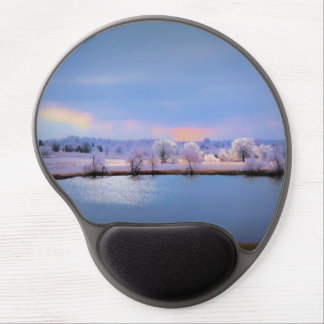Mousepad, Icy Pond and Willows in Pastel Colors Gel Mouse Pad