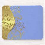 Mousepad--Light  Blue & Gold Swirls