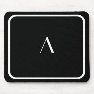 Mousepad negro barato con el monograma y el marco tapete de ratón