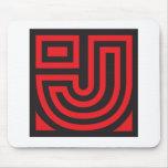 Mousepad negro rojo de J Alfombrilla De Ratón