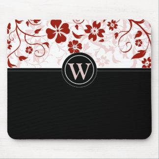 Mousepad negro y rojo con monograma simple