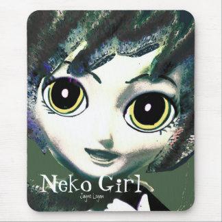 Mousepad, Neko Girl Green (Digital Art) Mousepads