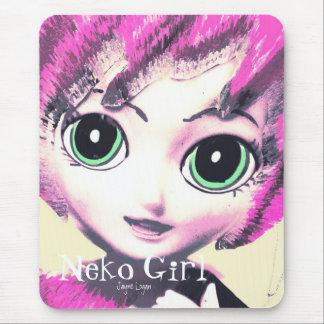 Mousepad, Neko Girl Pink (Digital Art) Mouse Pads