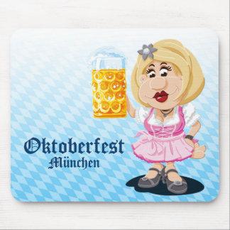 Mousepad Oktoberfest Dirndl Cartoon Woman Beer
