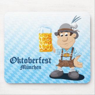 Mousepad Oktoberfest Lederhosen Cartoon Man Beer