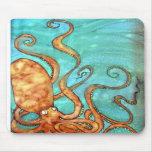 Mousepad: Original Hand Painted silk Octopus