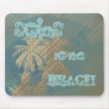 Beach Themed Mousepad palmtree texture pattern blue gold beige
