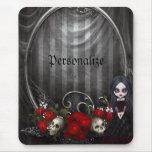Mousepad personalizado - chica, cráneos y rosas de alfombrilla de ratón