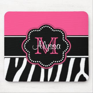 Mousepad personalizado estampado de zebra rosado
