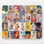 Mousepad Pin up Girls Art Vintage Retro Collage Mousepad