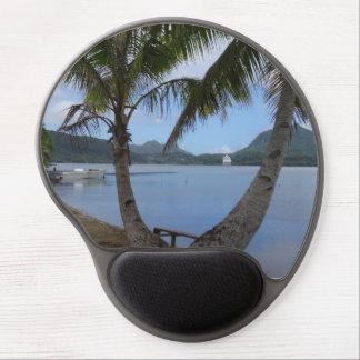 Mousepad redondeado de relajación tropical alfombrilla con gel