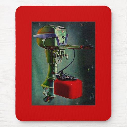 Mousepad Retro Outboard Motor Red Metal Gas Tank Zazzle