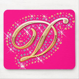 Mousepad rosado con D inicial Alfombrilla De Raton