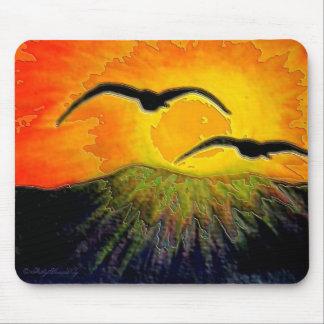 Mousepad. Sunrise and Two Sea-gulls Mouse Pad