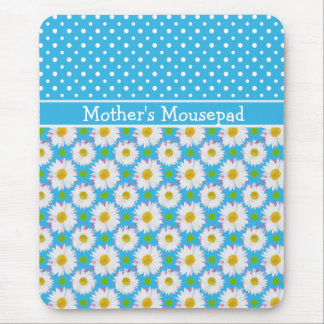 Mousepad to Personalize: Polkas and Daisies: Blue