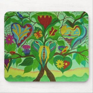 MOUSEPAD, TREE AND HEARTS MOUSE PAD