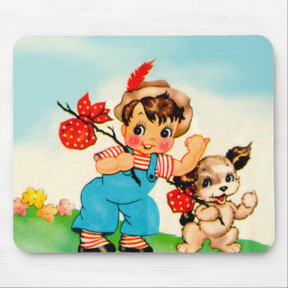 Mousepad Vintage Little Boy & Dog