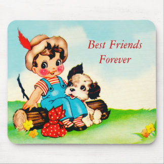 Mousepad Vintage Little Boy & Dog Best Friends BFF