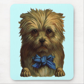 Mousepad Vintage Sweet Terrier Dog in Blue Ribbon