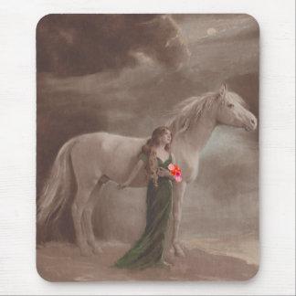 Mousepad Vntg Fantasy Moonlight Pretty Woman Horse