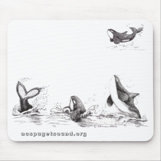 Mousepad with 4 Playful Killer Whales