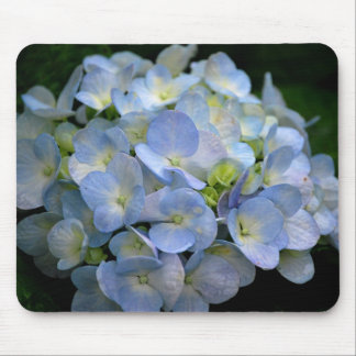 Mousepad with blue hydrangea flowers
