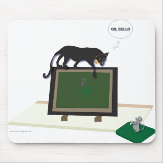 Mousepad with cat and mouse