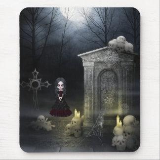 Mousepad with Creepy Goth Girl & Moonlit Skulls
