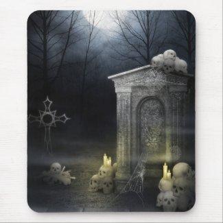 Mousepad with Creepy Moonlit Skulls mousepad