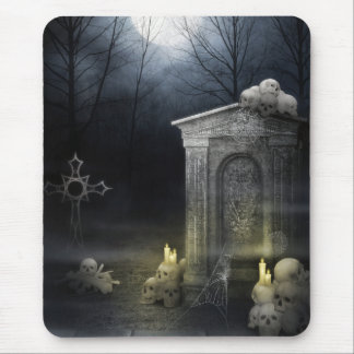 Mousepad with Creepy Moonlit Skulls