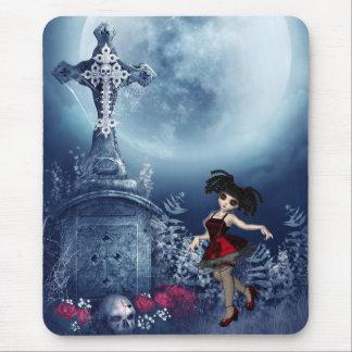 Mousepad with Cute Goth Girl Dancing in Graveyard