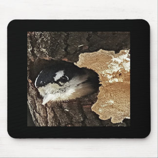 Mousepad with Downy Woodpecker - Vertical View