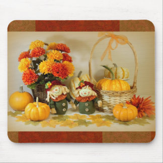 Mousepad with fall flowers,pumpkins and scarecrows
