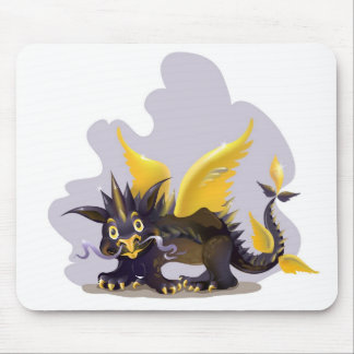 Mousepad with funny black dragon picture