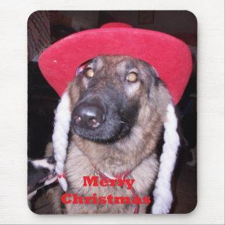 Mousepad With German Shepherd In Christmas Hat